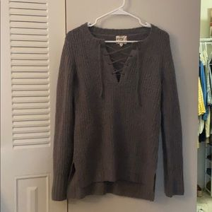 Sweaters - Gray lace up sweater